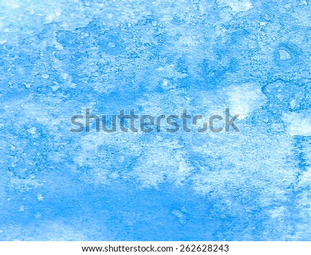 Blue abstract macro watercolor hand drawn paper texture. Wet brush painted smudges and stains background. Artistic water sea wallpaper. Decorative design card for banner, print, decor, template, cover - stock photo