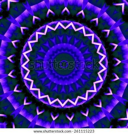 blue abstract mandala design. beautiful round background - stock photo
