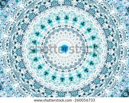 blue abstract mandala design. beutiful round background - stock photo