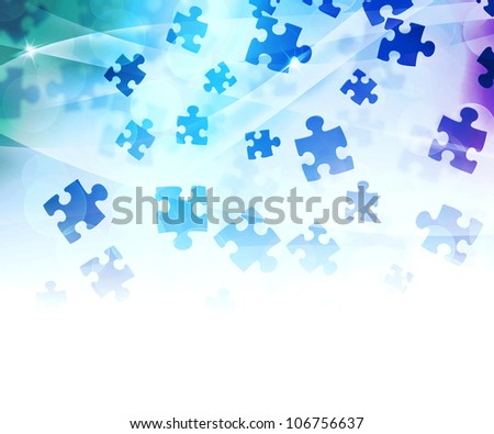 Blue Abstract Puzzle Background - stock photo