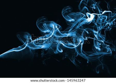 Blue abstract smoke design on black background - stock photo