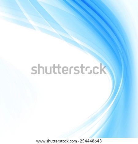Blue Abstract Smooth Curves Lines Background Design - stock photo