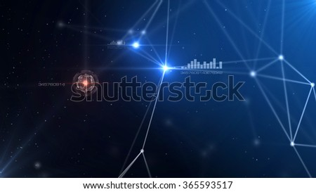 Blue abstract technology futuristic network - fantasy plexus background - stock photo