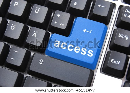 blue access button on a computer keyboard - stock photo