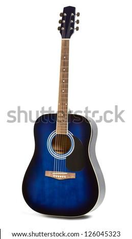 blue acoustic guitar isolated on white background - stock photo