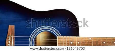 blue acoustic guitar isolated on white background - stock photo