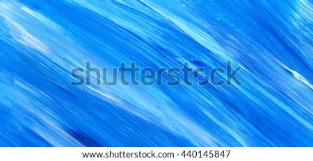 Blue acrylic brush stroke background, texture. Art paper. Ocean, water, sky, maritime theme backdrop for scrapbook elements with space for text. - stock photo