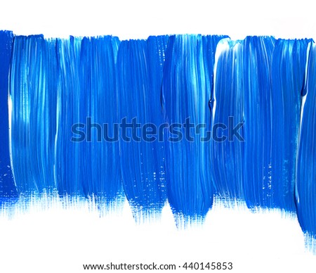 Blue acrylic brush stroke isolated on white background, texture. Grunge paper. Ocean, water, sky, maritime theme backdrop for scrapbook elements with space for text. - stock photo