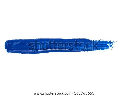 Blue acrylic paint frame/blot. Pure white background. - stock photo