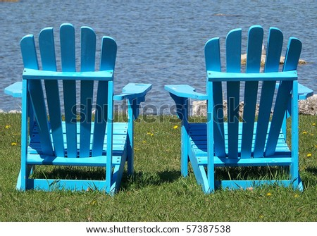 Blue Adirondack Chairs - stock photo