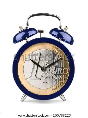Blue alarm clock with euro clockface isolated on white - stock photo