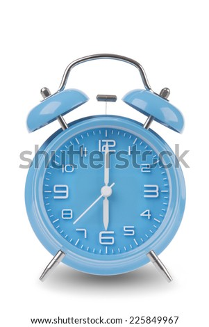 Blue alarm clock with the hands at 6 am or pm isolated on a white background, One of a set of 12 images showing the top of the hour starting with 1 am / pm and going through all 12 hours - stock photo