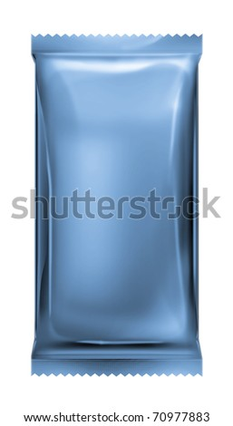 blue aluminum foil pack with zigzag trim isolated on white background - stock photo