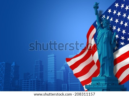 Blue American Background Illustration. Statue of Liberty, Flag and City Skyline Illustration with Copy Space. American Events and Celebration Backdrop. - stock photo
