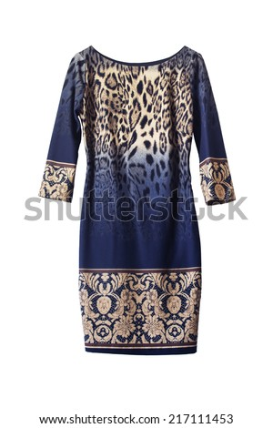 Blue and beige printed dress isolated over white - stock photo