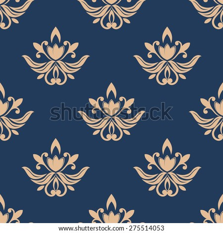 Blue and beige seamless pattern background for wallpaper and background design - stock photo