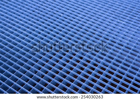 Blue and black abstract metallic grid - stock photo