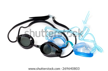 Blue and black goggles for swimming. Isolated on white background. - stock photo