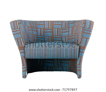 Blue and brown stripe armchair with soft seat pad an image isolated on white background - stock photo