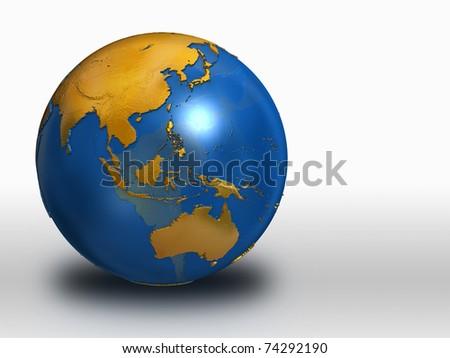 Blue and Gold Earth - Asia, Russia, Australia - stock photo