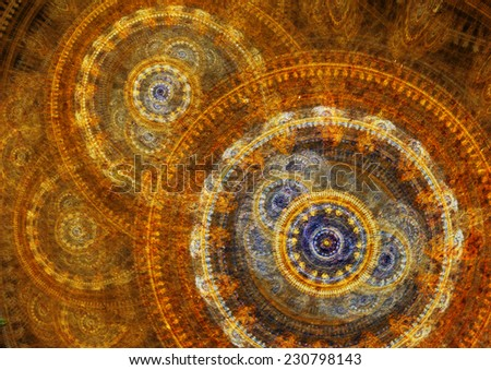 Blue and gold Fantasy steampunk design on black background - stock photo