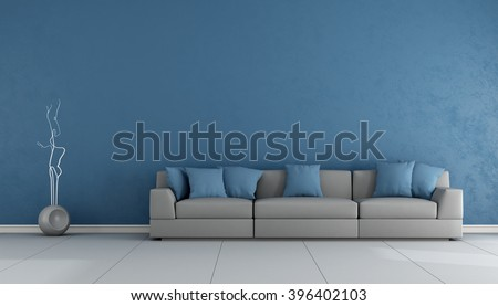 Blue and gray living room with elegant sofa - 3D Rendering - stock photo