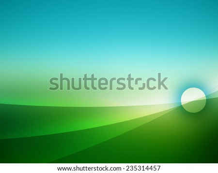 Blue and green abstract background with soft curves for various design artworks, business cards, templates - stock photo