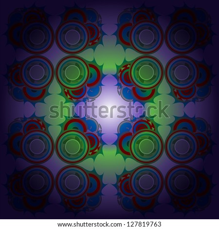 Blue and green abstract lightning, raster - stock photo
