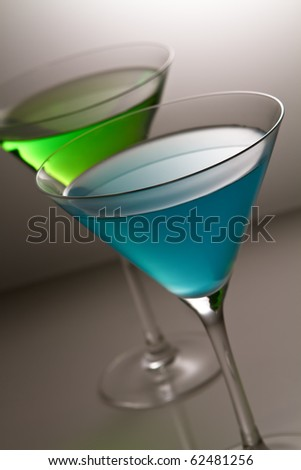 blue and green alcohol cocktail - stock photo
