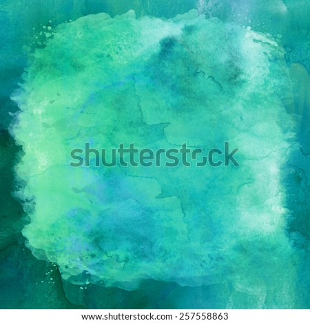 Blue and Green Aqua Teal Turquoise Watercolor Paper Background Texture - stock photo
