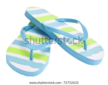 Blue and Green Flip Flop Sandals Isolated on White with a Clipping Path. - stock photo