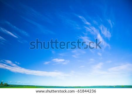 Blue and Green Idyllic View - stock photo