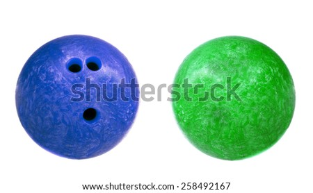 blue and green marbled bowling balls isolated - stock photo