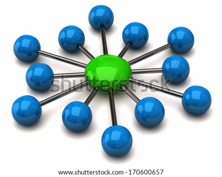 Blue and green network icon - stock photo