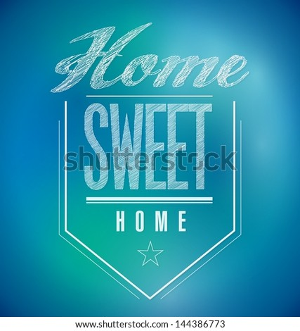 blue and green Vintage Home Sweet Home Sign poster illustration - stock photo