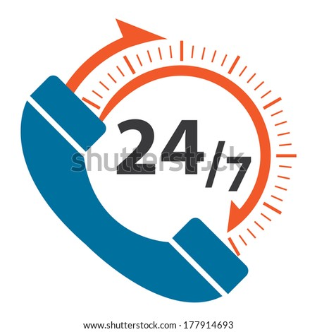 Blue and Orange 24/7 Call Center Icon, Badge, Label or Sticker for Customer Service, Support or CRM Concept Isolated on White Background  - stock photo
