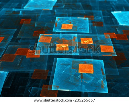 Blue and orange glowing rectangles, computer generated abstract background - stock photo