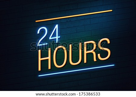 Blue and orange neon sign with 24 hours text on wall - stock photo
