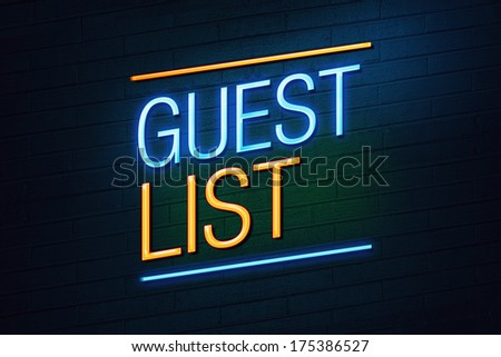 Blue and orange neon sign withguest list text on wall - stock photo