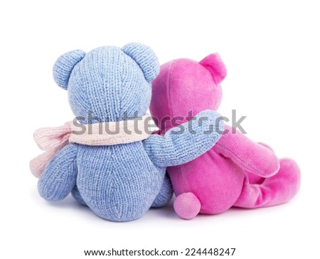 blue and pink  teddy bears back isolated on white  - stock photo