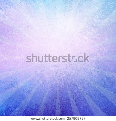 blue and purple retro sunburst pattern background with radial striped lines and distressed vintage grunge background texture with blurred white center for text or typography - stock photo