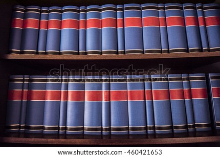 Blue and red books - stock photo
