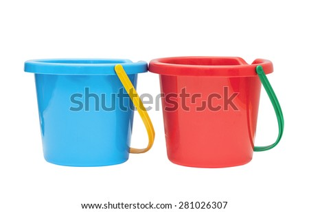 Blue and red children bucket isolated on a white background - stock photo