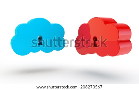 blue and red cloud of data with a keyhole - stock photo