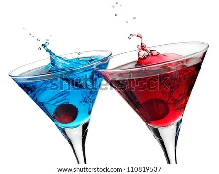 Blue and red cocktail up - stock photo