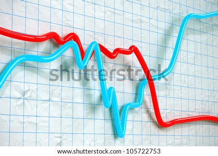 blue and red 3D Stock exchange curves on graph paper - stock photo