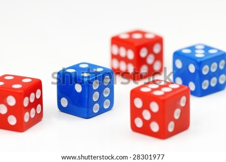 Blue and Red dices on the White - stock photo