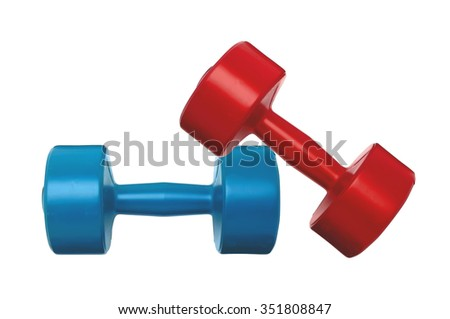 blue and red dumbbells fitness isolated on white - stock photo
