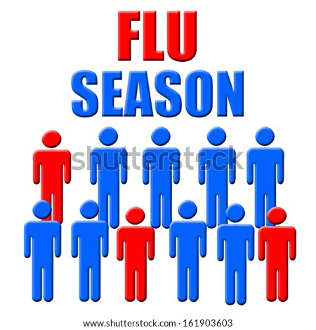 blue and red figures flu season poster illustration - stock photo