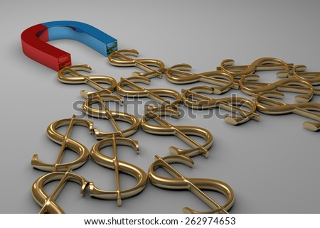 Blue and red glossy horseshoe or U shape magnet attracting many golden dollar signs lying on gray background - stock photo